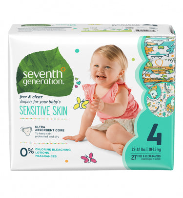 Sev Gen Free and Clear Baby Diapers, Jumbo, Size 4, 27 Count | سيف جين فري و كلير بيبي ديابيرز، جمبو، سيز 4، 27 كونت