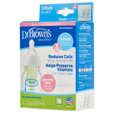 Dr. Brown's 2 oz Natural Flow Baby Bottle, 2-Pack with Preemie Nipples