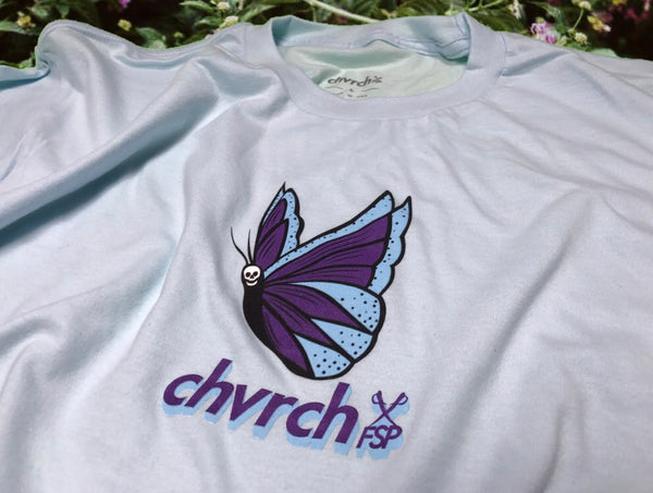 Butterfly Graphic T-shirt: Light Blue