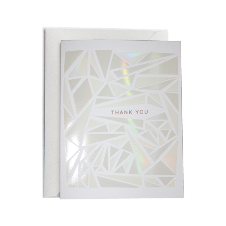 Geometric Holographic Foil Thank You Greeting Card