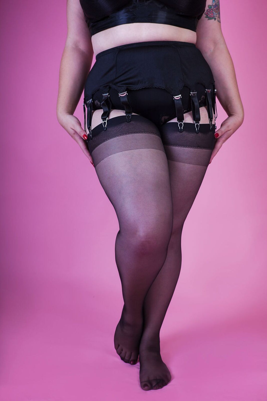 "The Nylon Swish Queen sized stockings - ""Midnight Black"""