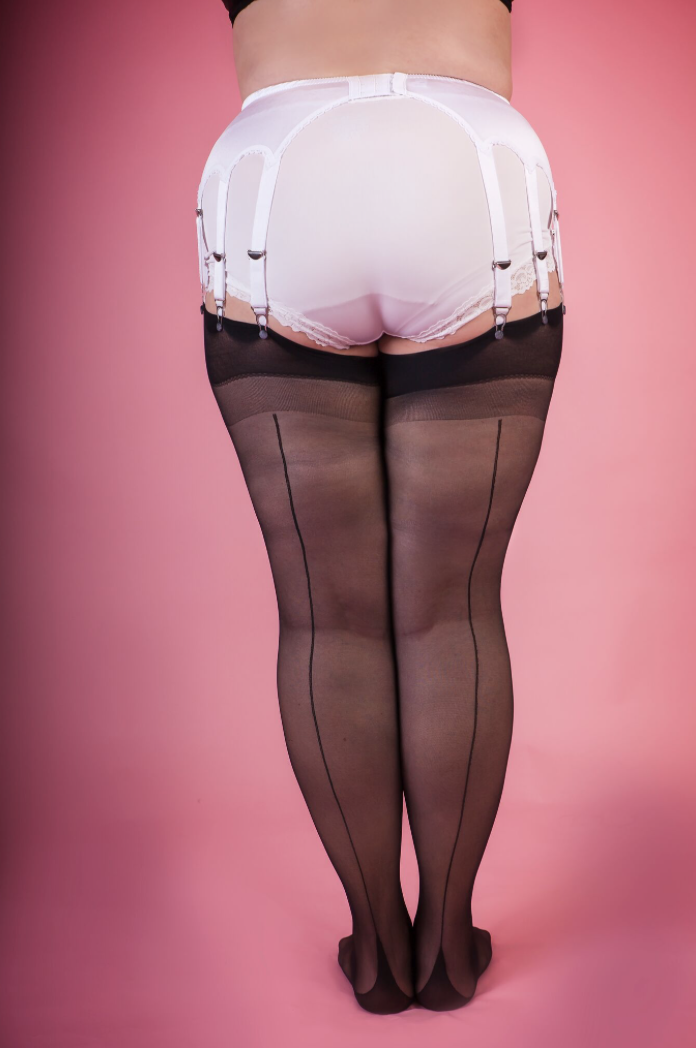 Queen sized stockings - Black with black seam