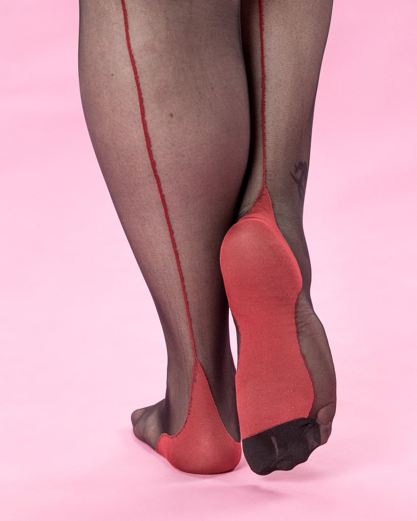 TNS Maria stockings - Black with red seam