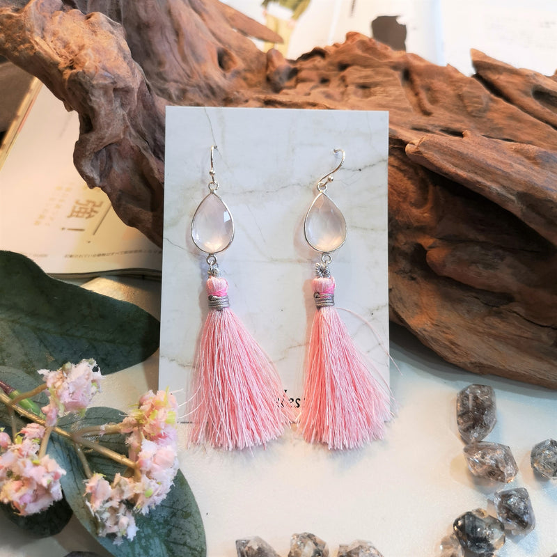Rose Quartz x  Long Tassel  in French Hooks
