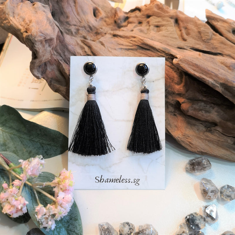 Black Onyx x Tassel Stud Earrings