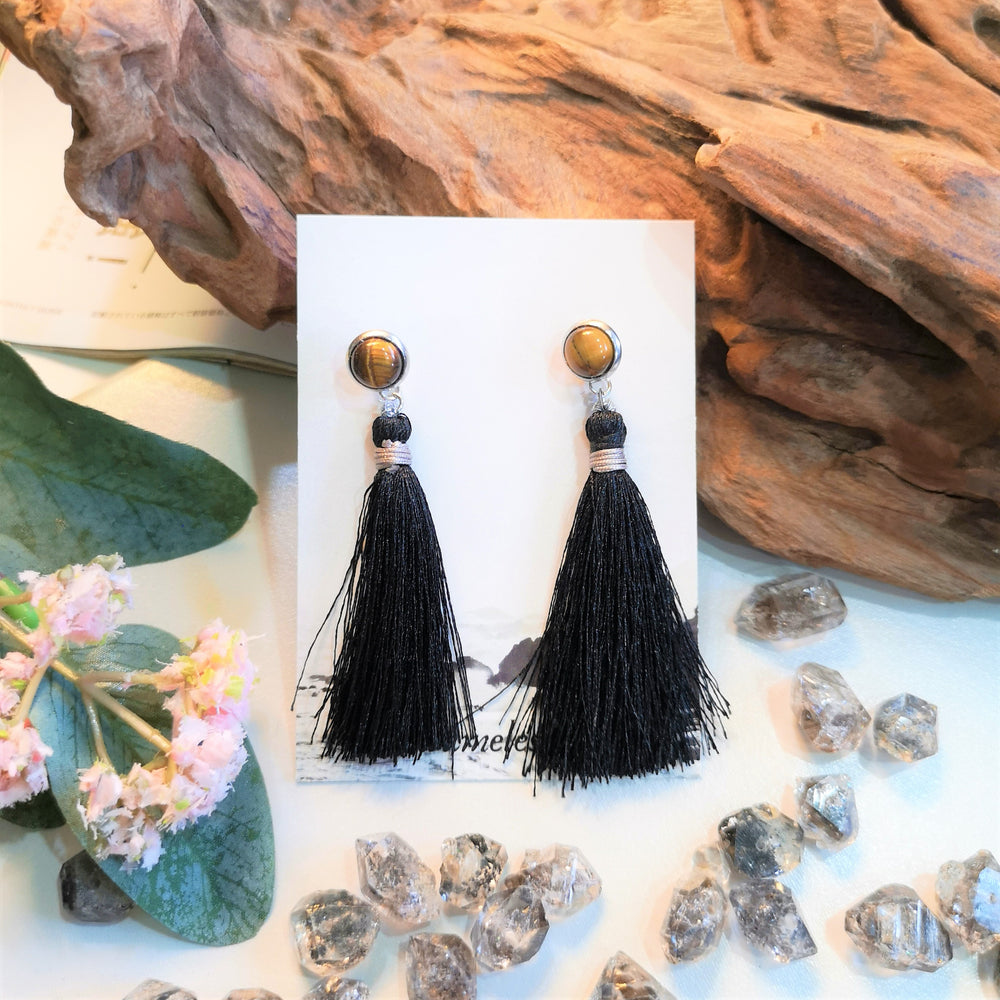 Tiger Eye X Tassel Stud Earrings