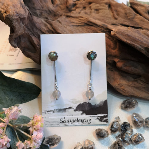 Labradorite Rebel Stud Earring Round Bead Edition