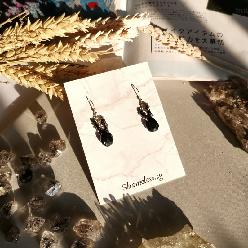 Janet Earrings In Black Spinel Stones