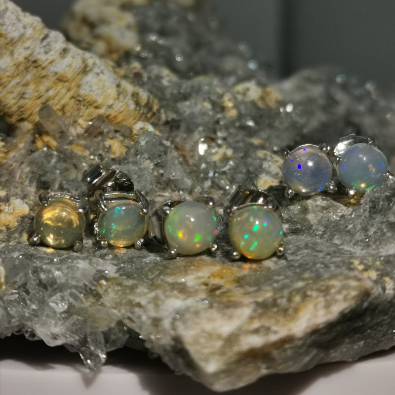 """Aurora"" 6MM Stud Earrings In Opal Stones"
