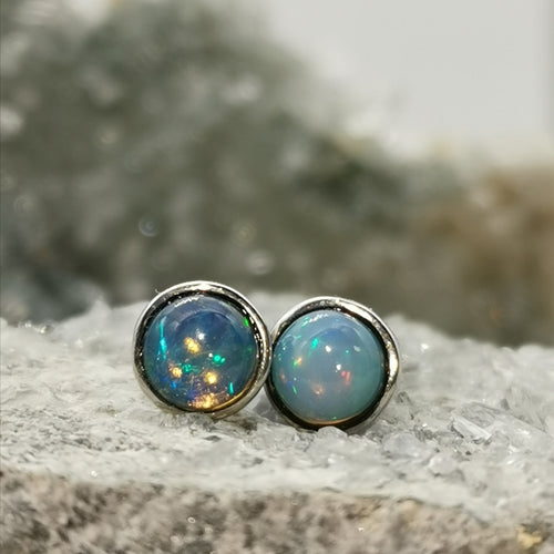 """'Aurora"" 5MM Bezel Stud Earrings In Opal Stones"