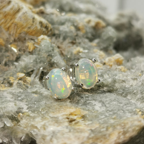 """Aurora"" 8X6MM Stud Earrings In Opal Stones"