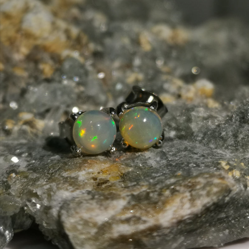 """Aurora"" 5MM Stud Earrings In Opal Stones"