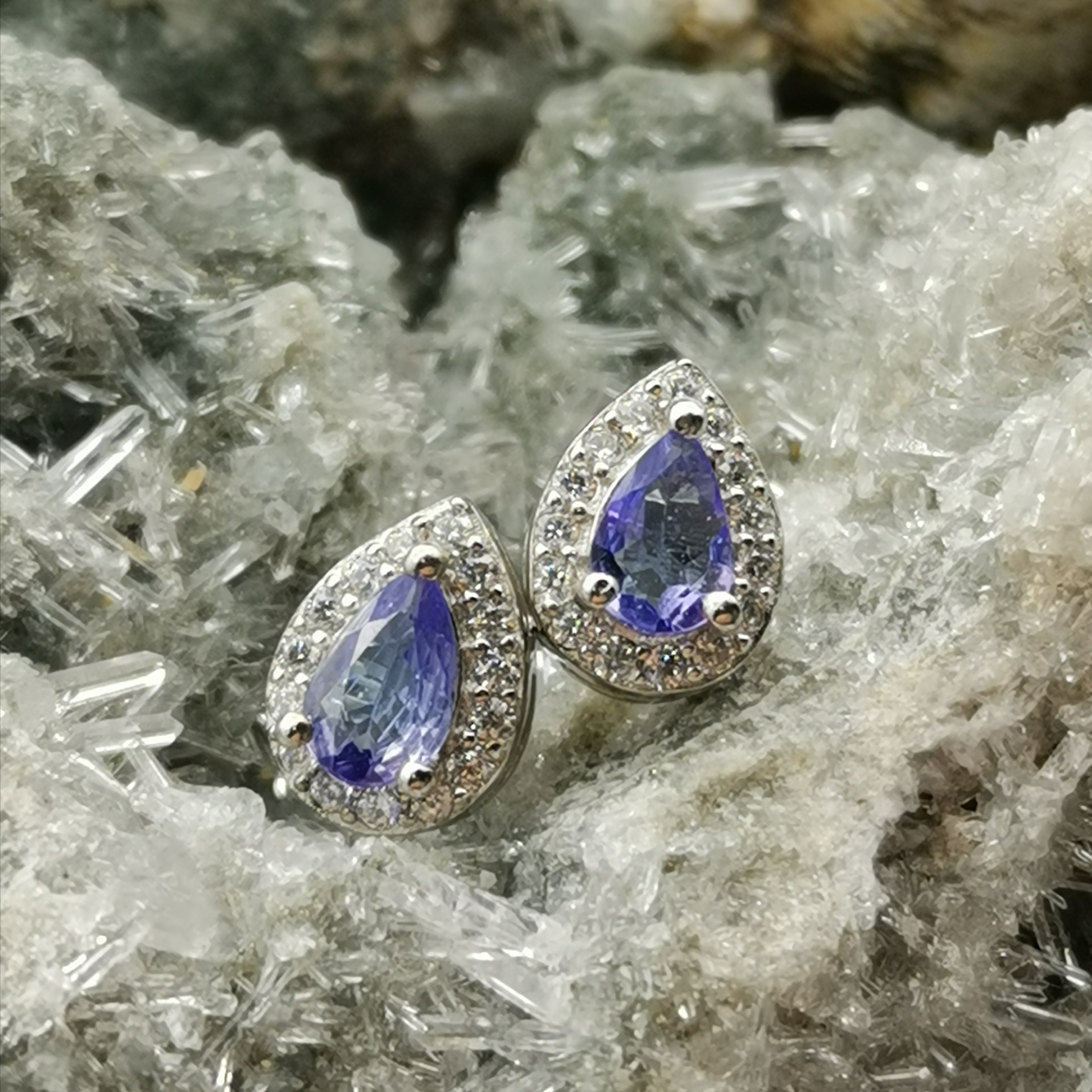 Teardrop Stud Earrings In Tanzanite