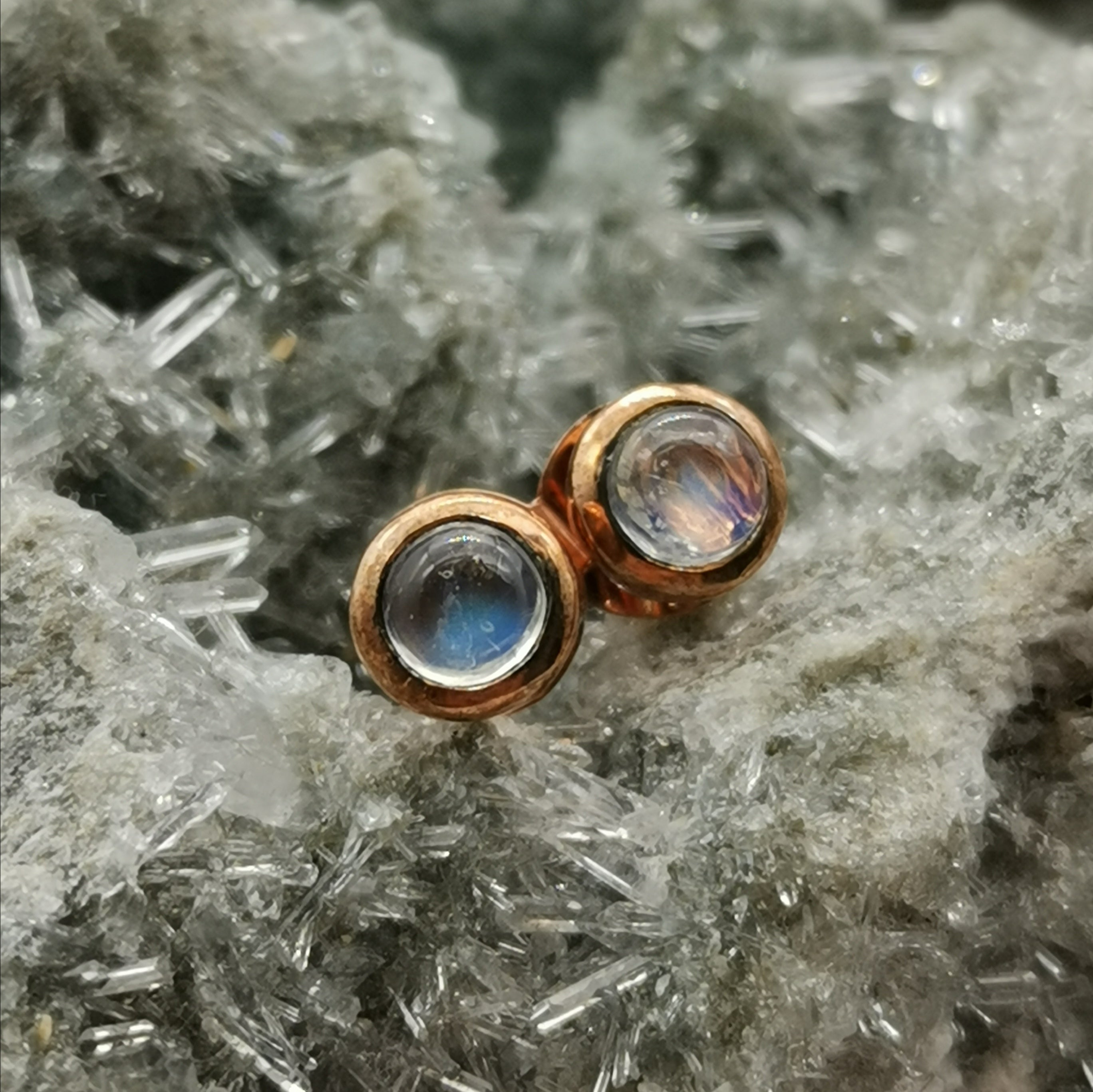 (Aurora) Rose Gold Stud Earrings In Moonstone