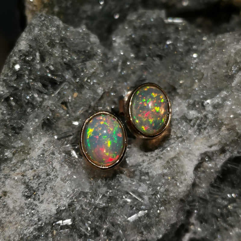 (Aurora)Rose Gold Stud Earrings In Opal