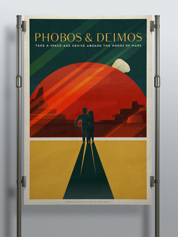 SpaceX Phobos & Deimos - Take a Space-Age Cruise Aboard the Moons of Mars - SpaceX Mars Travel Poster