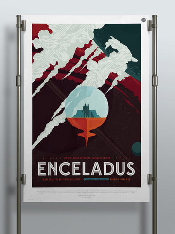 Visit Beautiful Southern Enceladus - NASA JPL Space Travel Poster