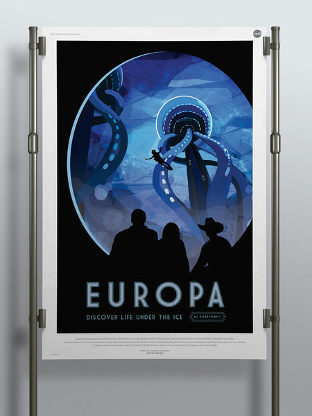 Europa: Discover Life Under the Ice - NASA JPL Space Travel Poster