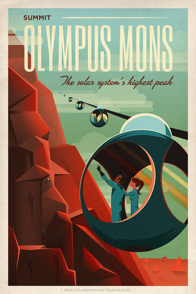 SpaceX Summit Olympus Mons - The Solar System's Highest Peak - SpaceX Mars Tourism Poster