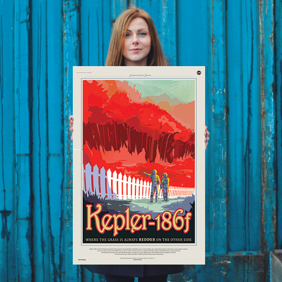 Kepler-186f - Where the Grass is Always Redder on the Other Side - NASA JPL Space Travel Poster