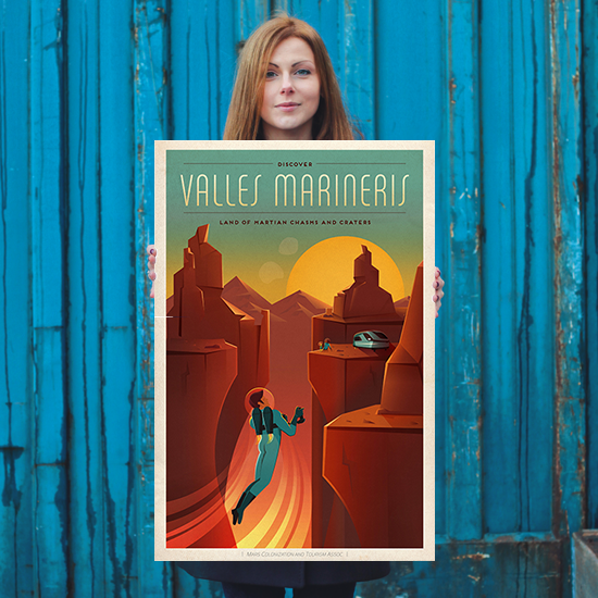 SpaceX Discover Valles Marineris - Land of Martian Chasms and Craters - SpaceX Mars Travel Poster