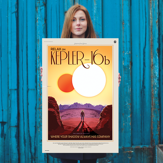 Relax on Kepler-16b - Where Your Shadow Always Has Company - NASA JPL Space Travel Poster