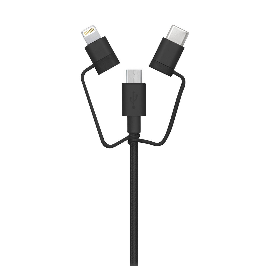3-in-1 cable (Lightning, Type-C, Micro USB): Black 1M