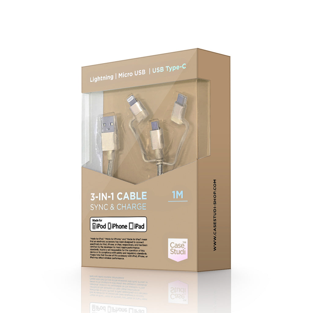 3-in-1 cable (Lightning, Type-C, Micro USB): Gold 1M