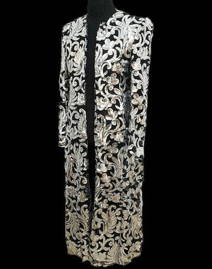 ACANTHA (silver) embroidery long coat