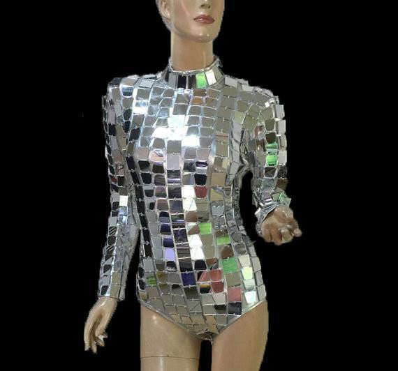 DISCO BABE FROM OUTER SPACE mirrored catsuit