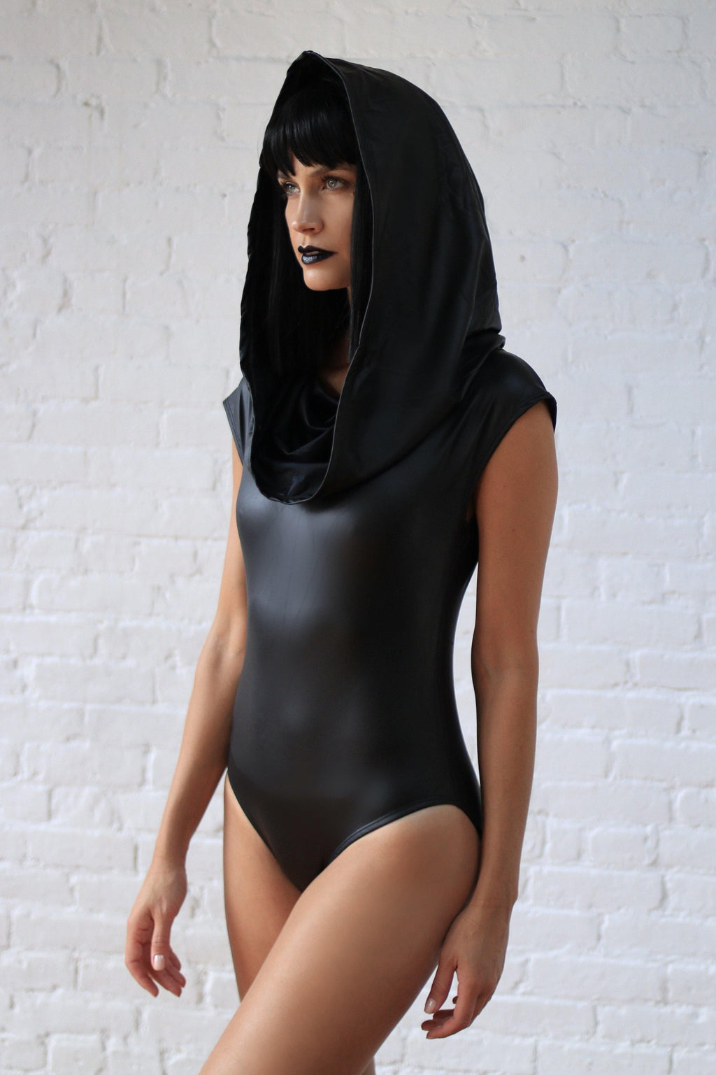 GALACTIKA metallic hooded bodysuit Black
