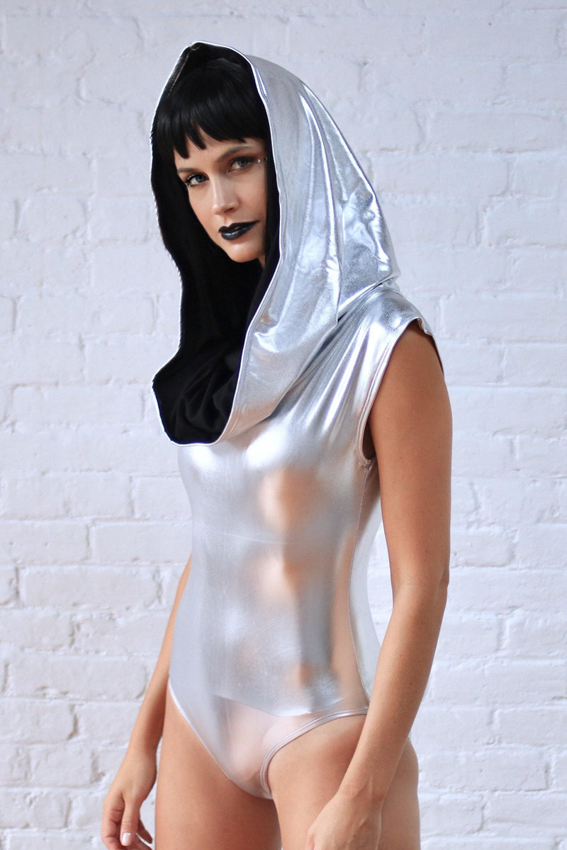GALACTIKA metallic hooded bodysuit Silver