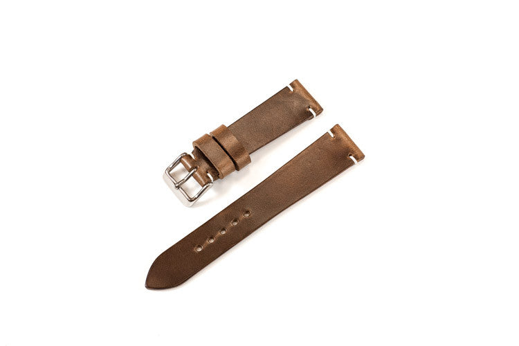 Vintage Style Watch Strap - Horween Chromexcel: Natural