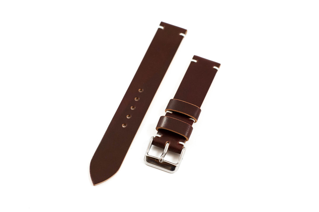 Vintage Style Watch Strap - Horween Shell Cordovan: Color #8