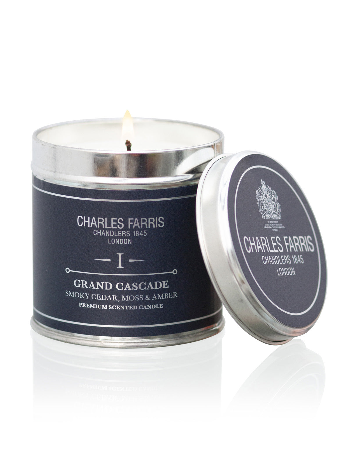 Grand Cascade Tin Candle | Smoky Cedar, Moss & Amber