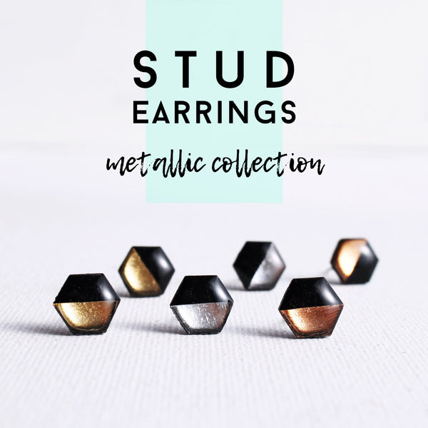 Vinyl Record Stud Earrings / METALLIC Collection