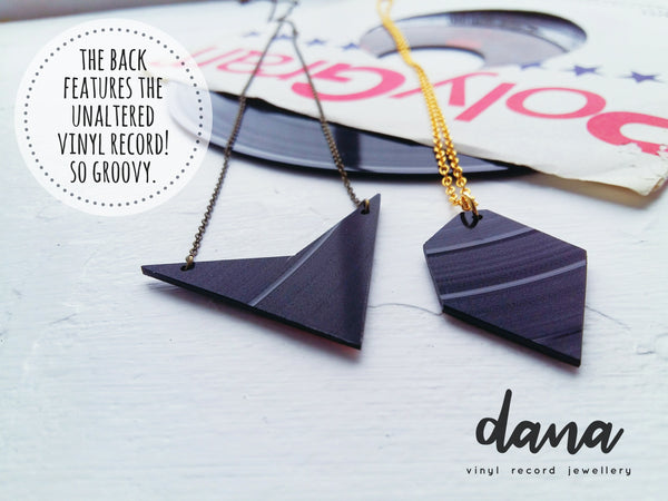 Vinyl record jewelry by Dana Jewellery