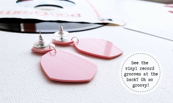Bold statement dangly stud earrings in pink and silver / vinyl record jewelry