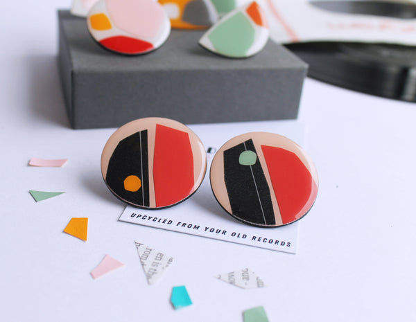 *new* big and bold upcycled abstract stud earrings / upcycled fashion