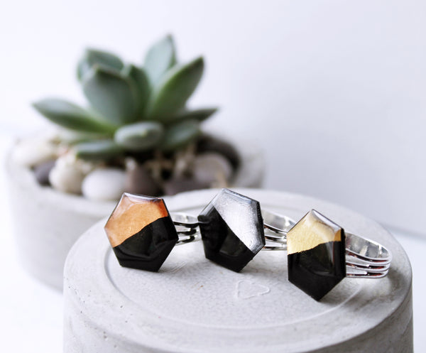 Black and copper hexagon ring / vinyl record jewelry
