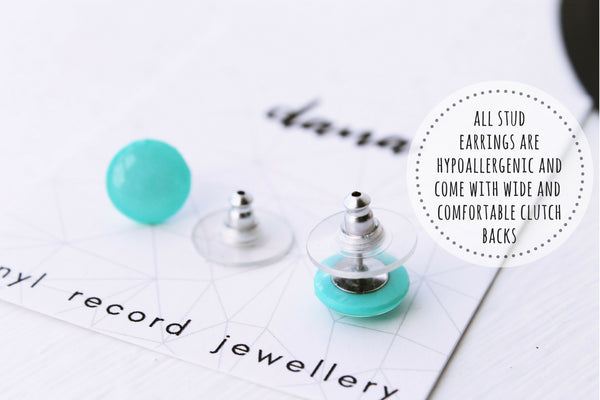 Contemporary handcrafted stud earrings made from vinyl records