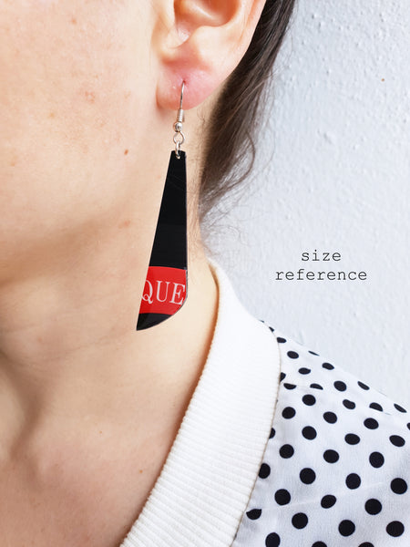 40% off Black and orange RCA vinyl record earrings