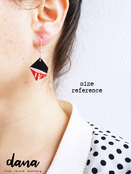 Black and dark red geometric dangle earrings handmade from recycled vinyl record