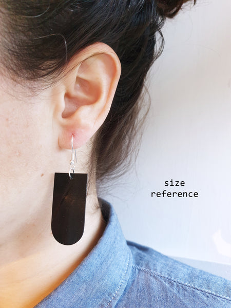 Stereophonic unique black vinyl record earrings by Dana Jewellery