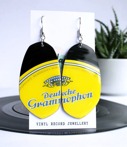 *NEW bright yellow unique reclaimed vinyl record earrings