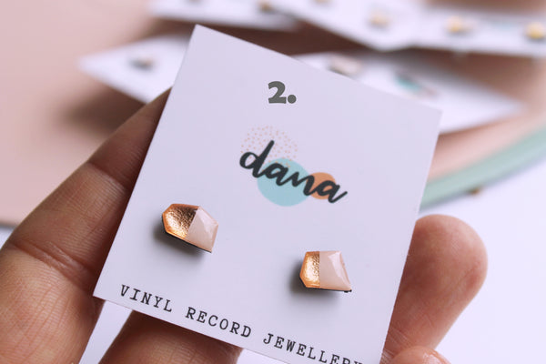*new* mini mismatched studs - light warm pink & metallics