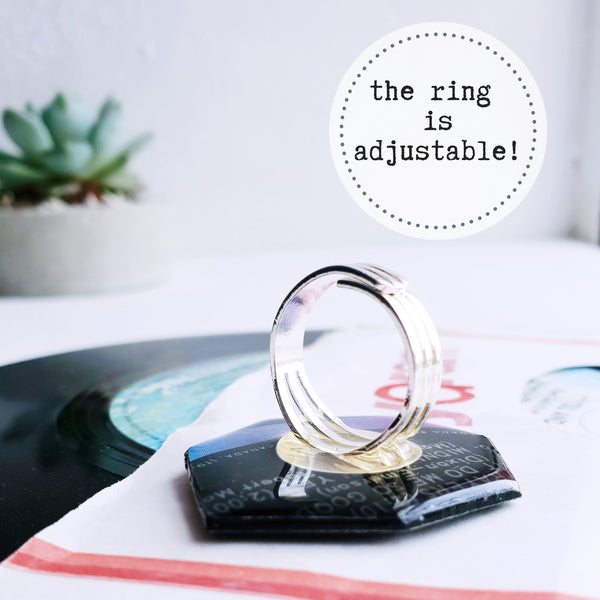 Handcrafted recycled vinyl record statement ring