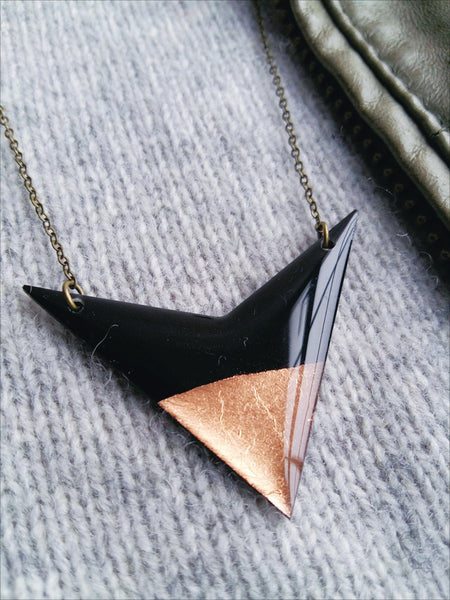 Geometric vinyl record necklace / recycled jewelry