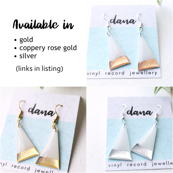 Minimalist white and gold triangle dangle earrings / vinyl record jewelry