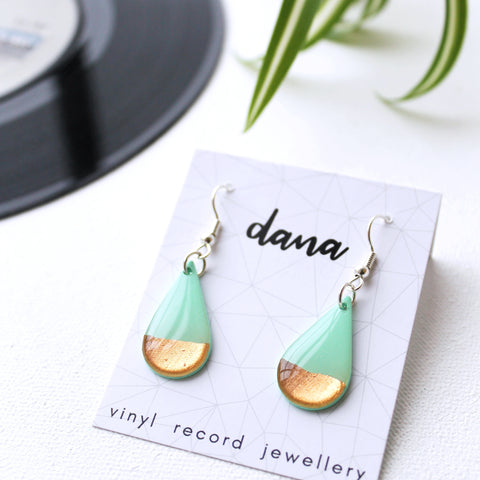 Mint and coppery rose gold teardrop vinyl record earrings